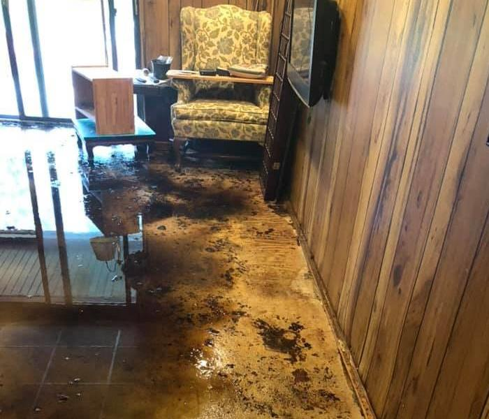 Water and mud in a room with wood walls and pieces of furniture