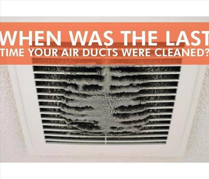 A dirty air duct with a text box question