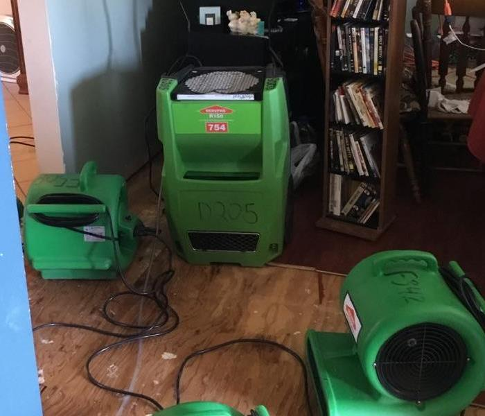 Green fans and dehumidifier in a living room